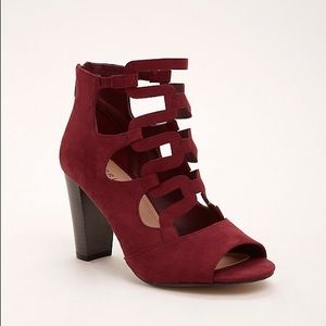 Torrid Wine Strappy Caged Stacked Heel Sz.9.5 NWT